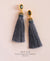 EDEN + ELIE silk tassel statement earrings - ash grey