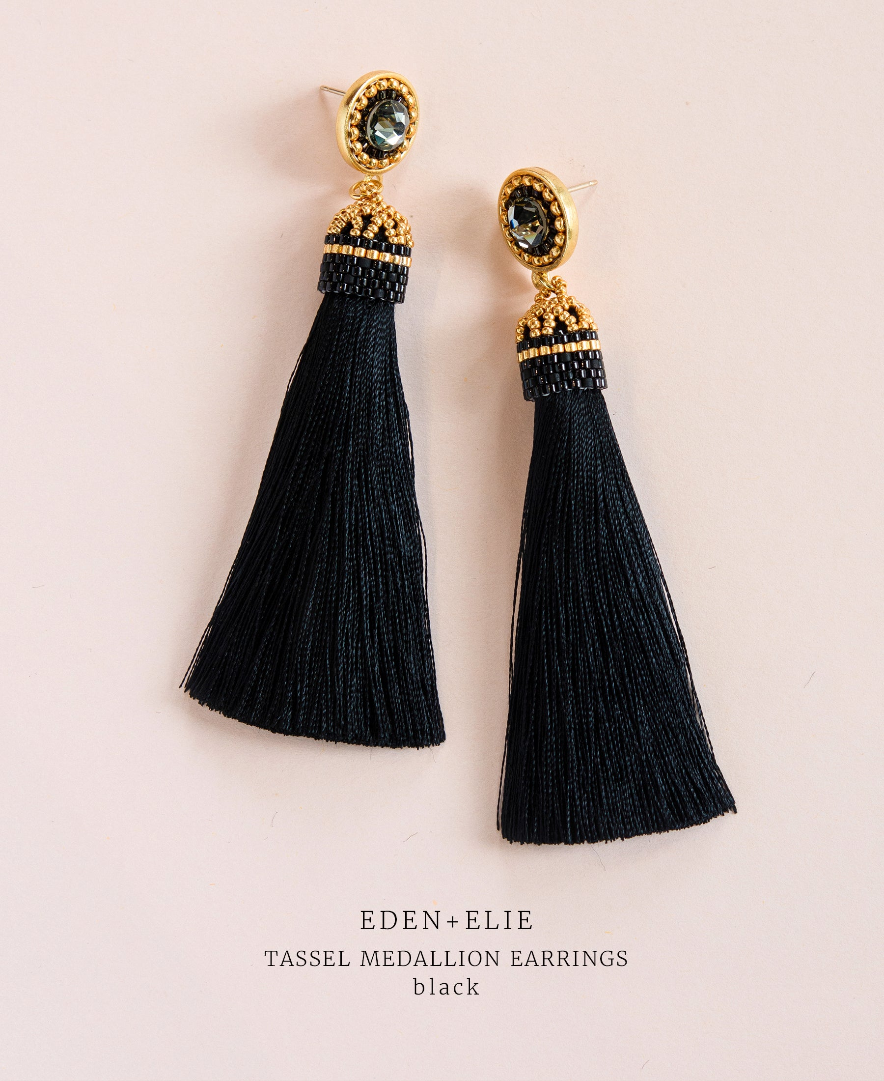 EDEN + ELIE silk tassel statement earrings - black