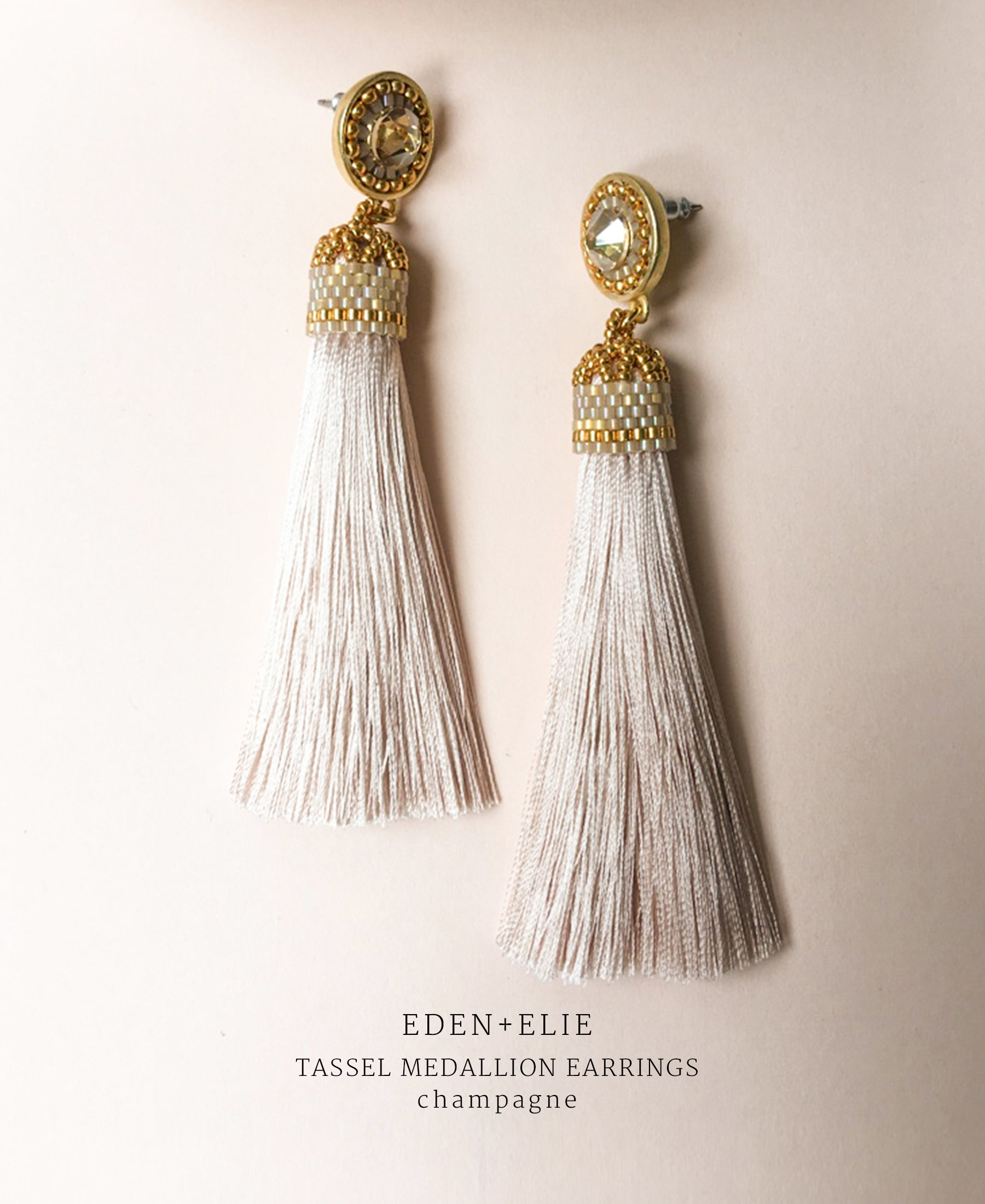 EDEN + ELIE silk tassel statement earrings - champagne