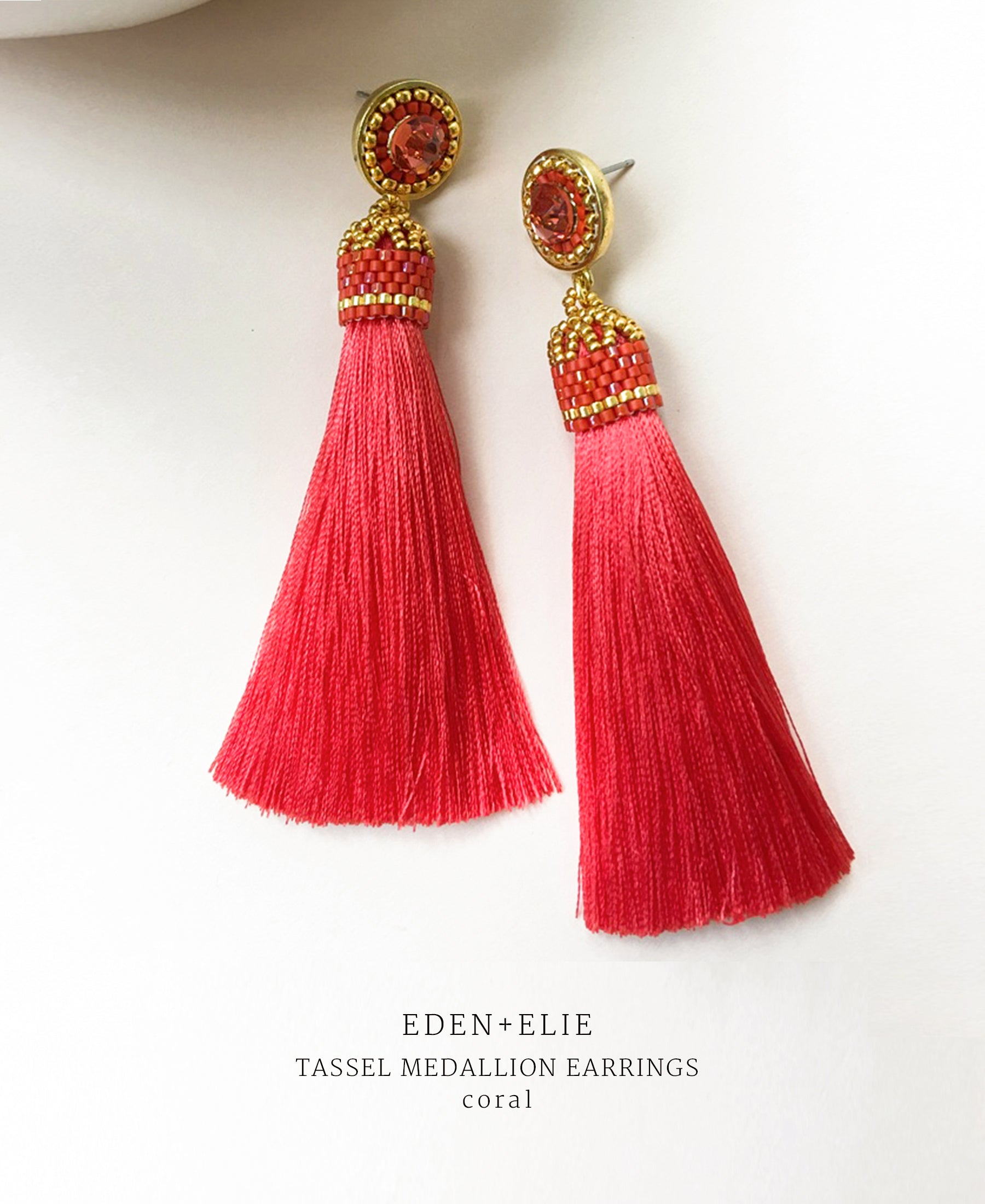 EDEN + ELIE silk tassel statement earrings - coral red