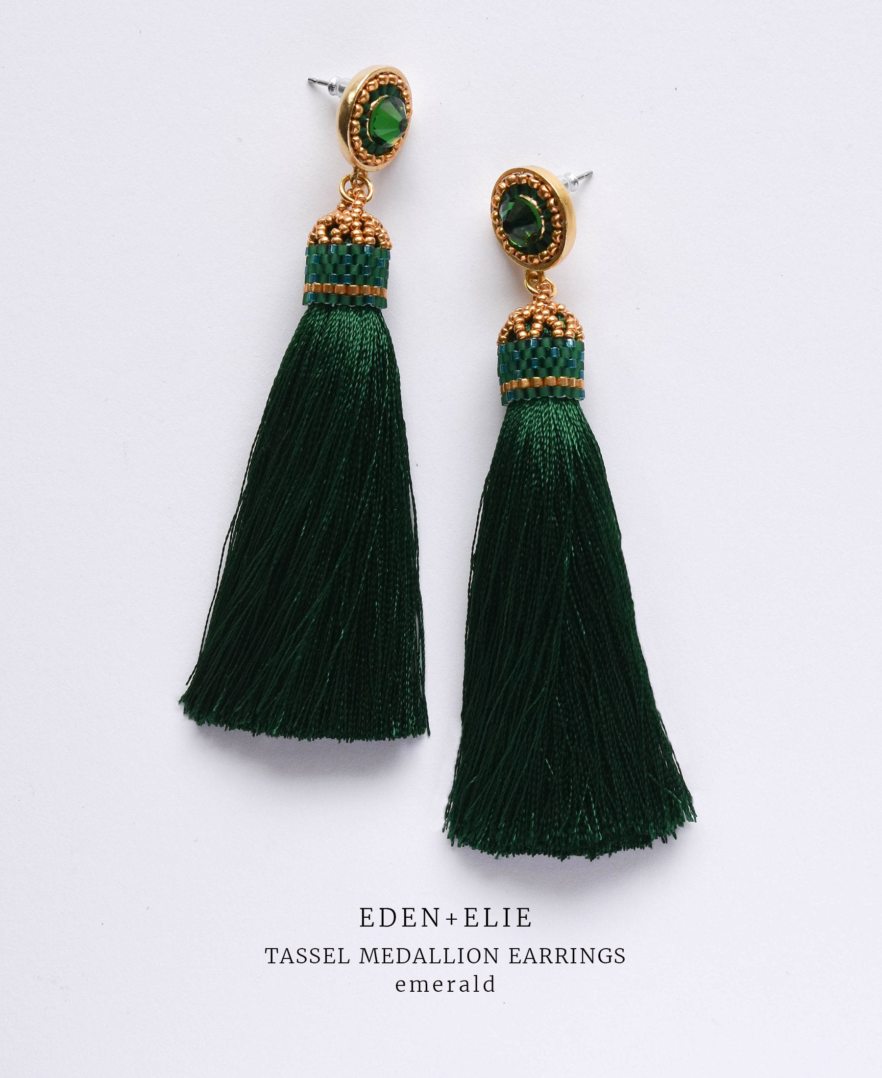 EDEN + ELIE silk tassel statement earrings - emerald green