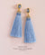 EDEN + ELIE silk tassel statement earrings - frost blue