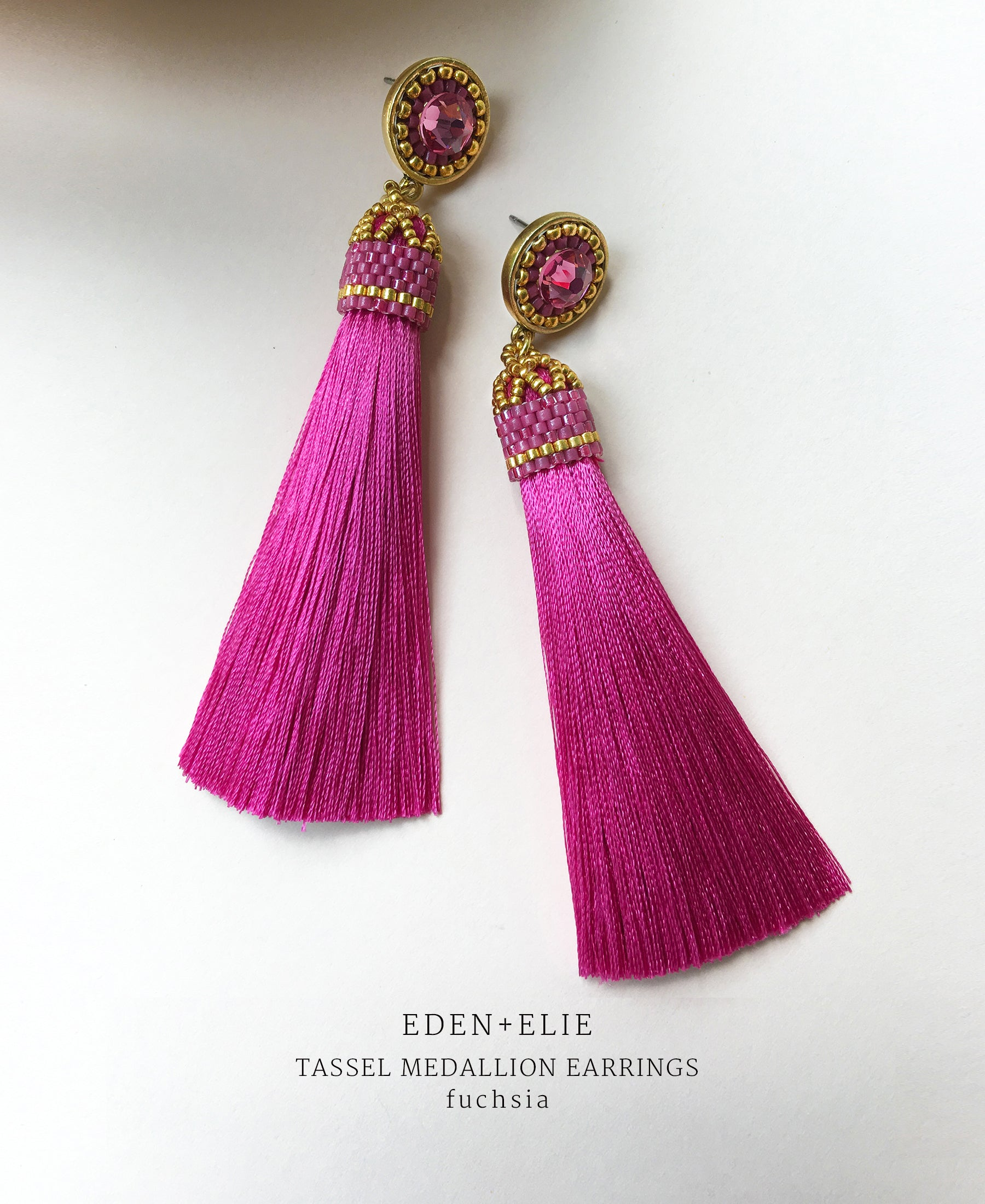 EDEN + ELIE silk tassel statement earrings - fuchsia pink