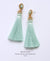 EDEN + ELIE silk tassel statement earrings - mint green
