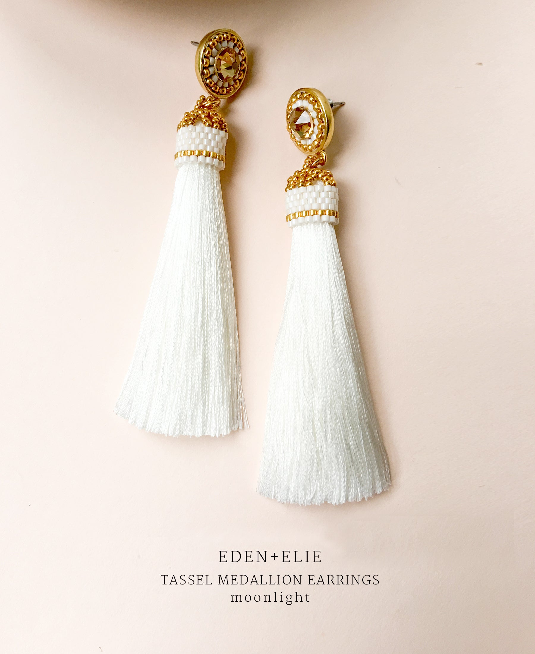 EDEN + ELIE silk tassel statement earrings - moonlight