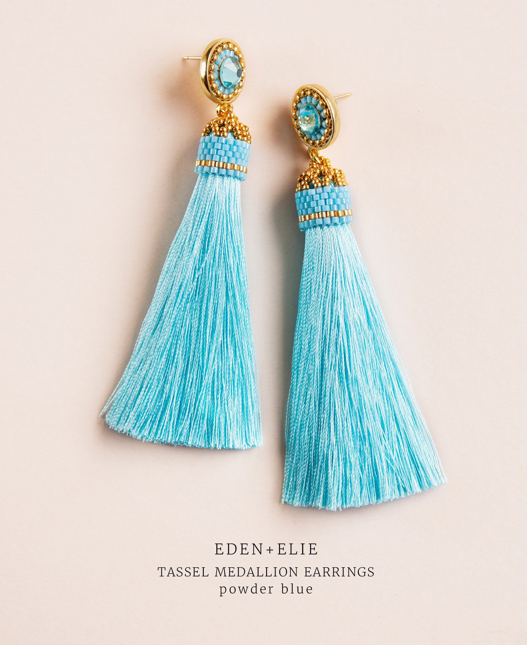 EDEN + ELIE silk tassel statement earrings - powder blue