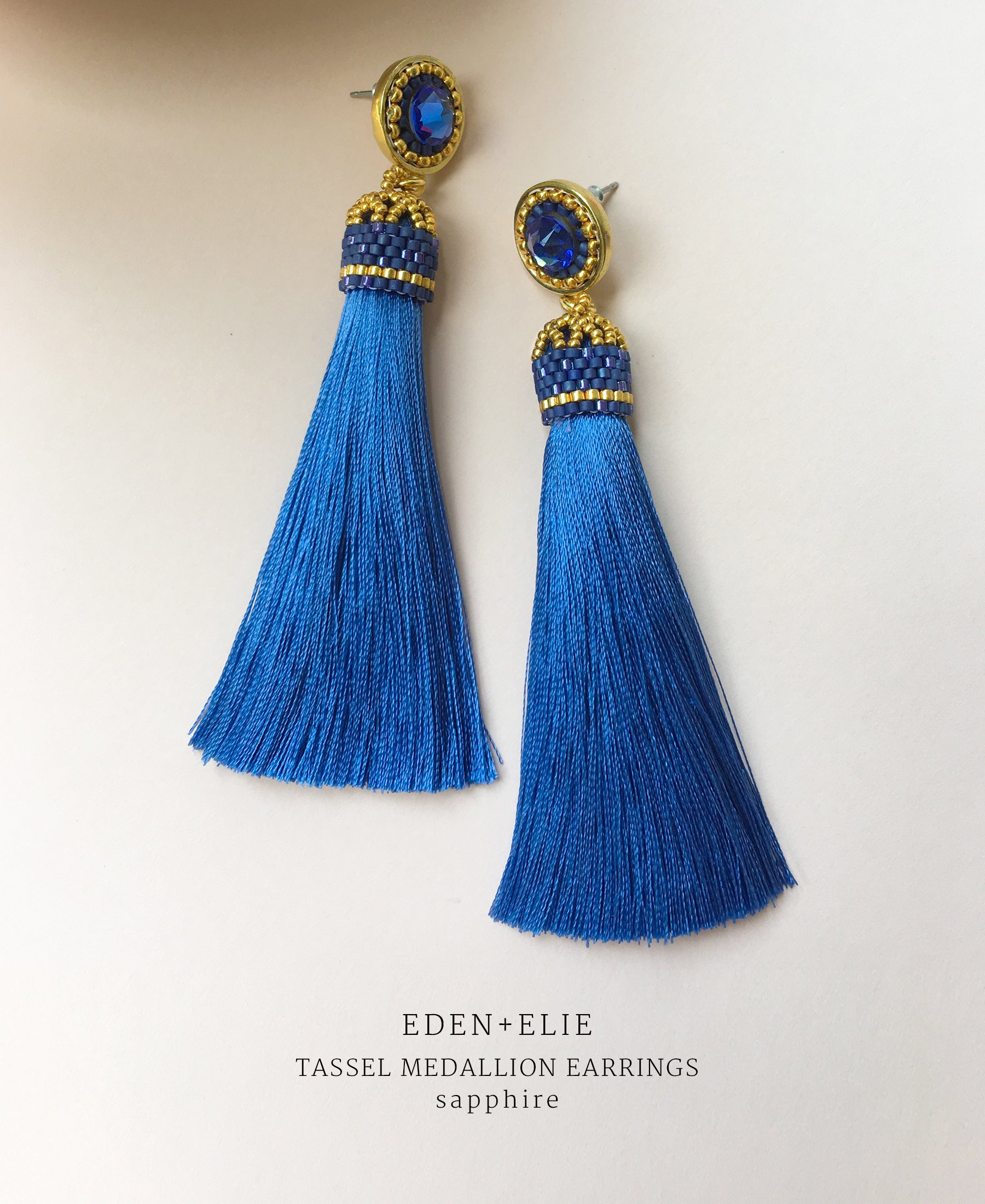 EDEN + ELIE silk tassel statement earrings - sapphire blue