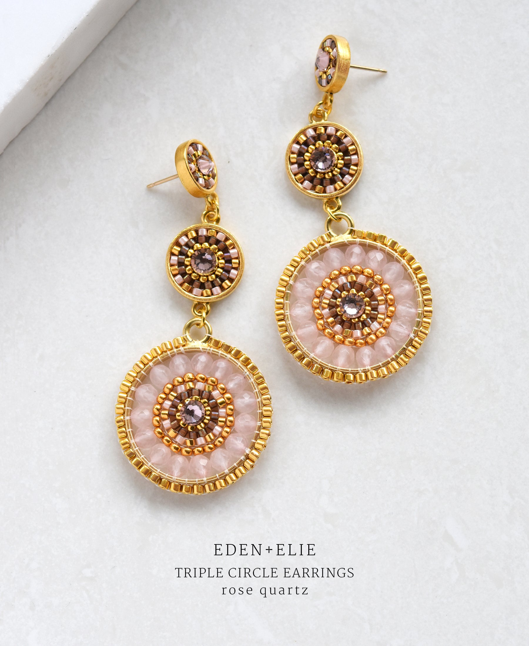 EDEN + ELIE Luxe triple circle statement drop earrings - rose quartz