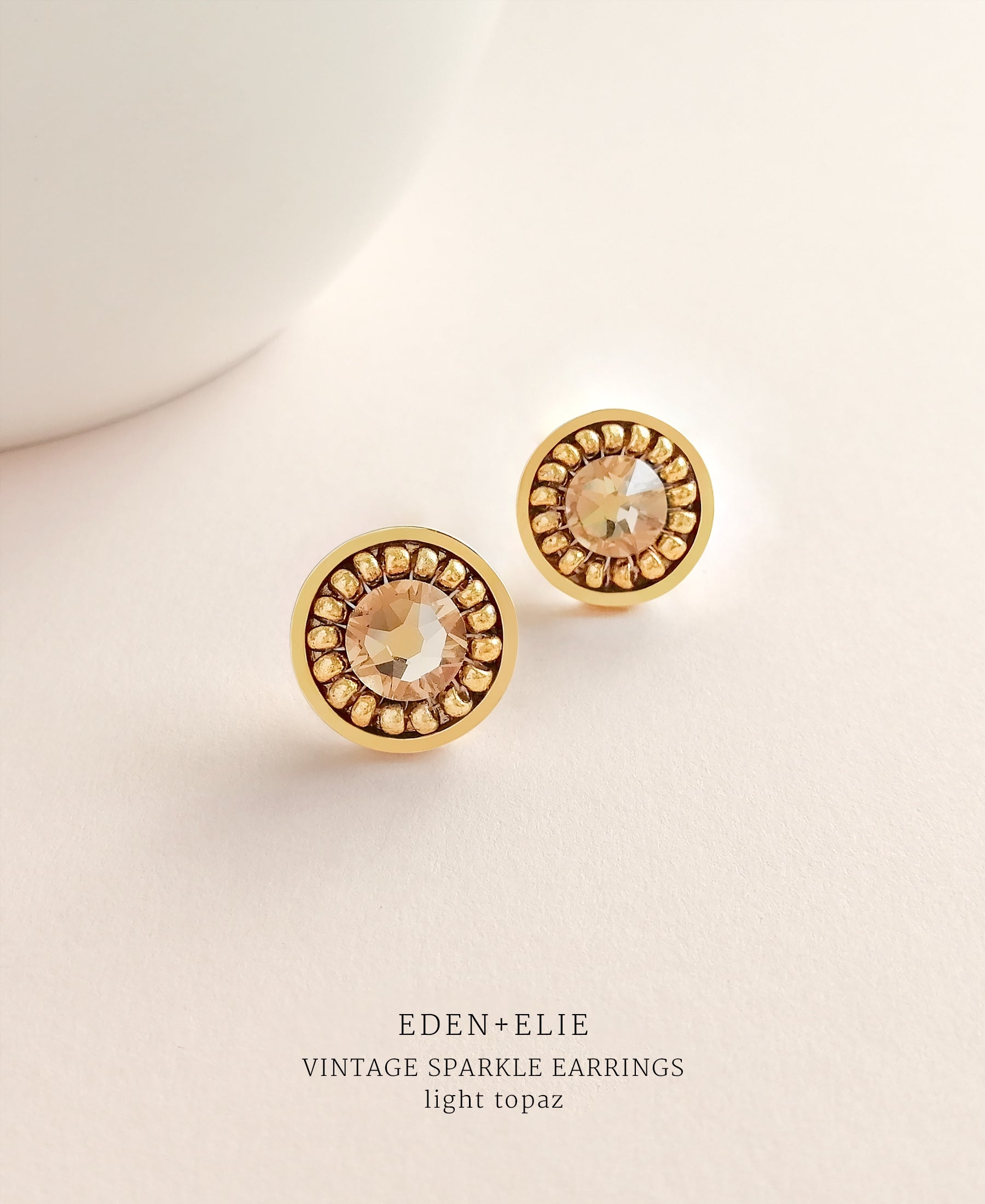 EDEN + ELIE gold plated jewelry Vintage Sparkle stud earrings - light topaz