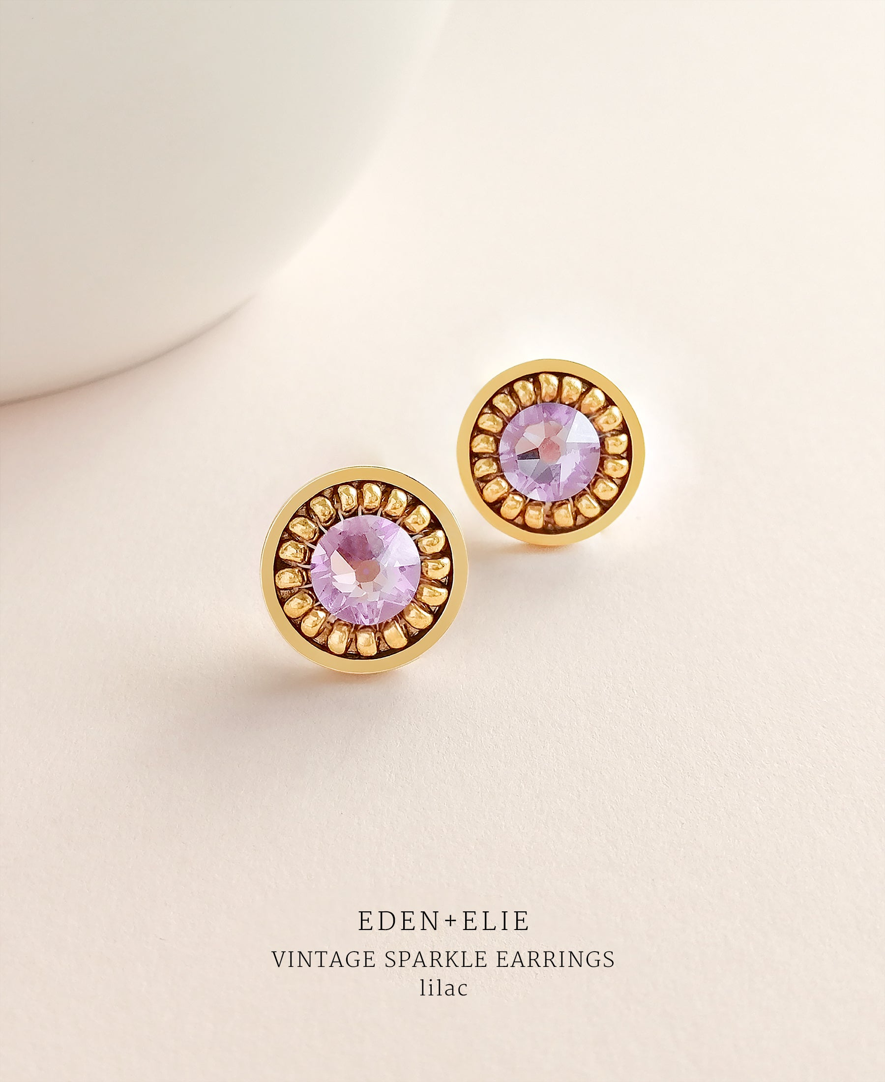 EDEN + ELIE gold plated jewelry Vintage Sparkle stud earrings - lilac purple