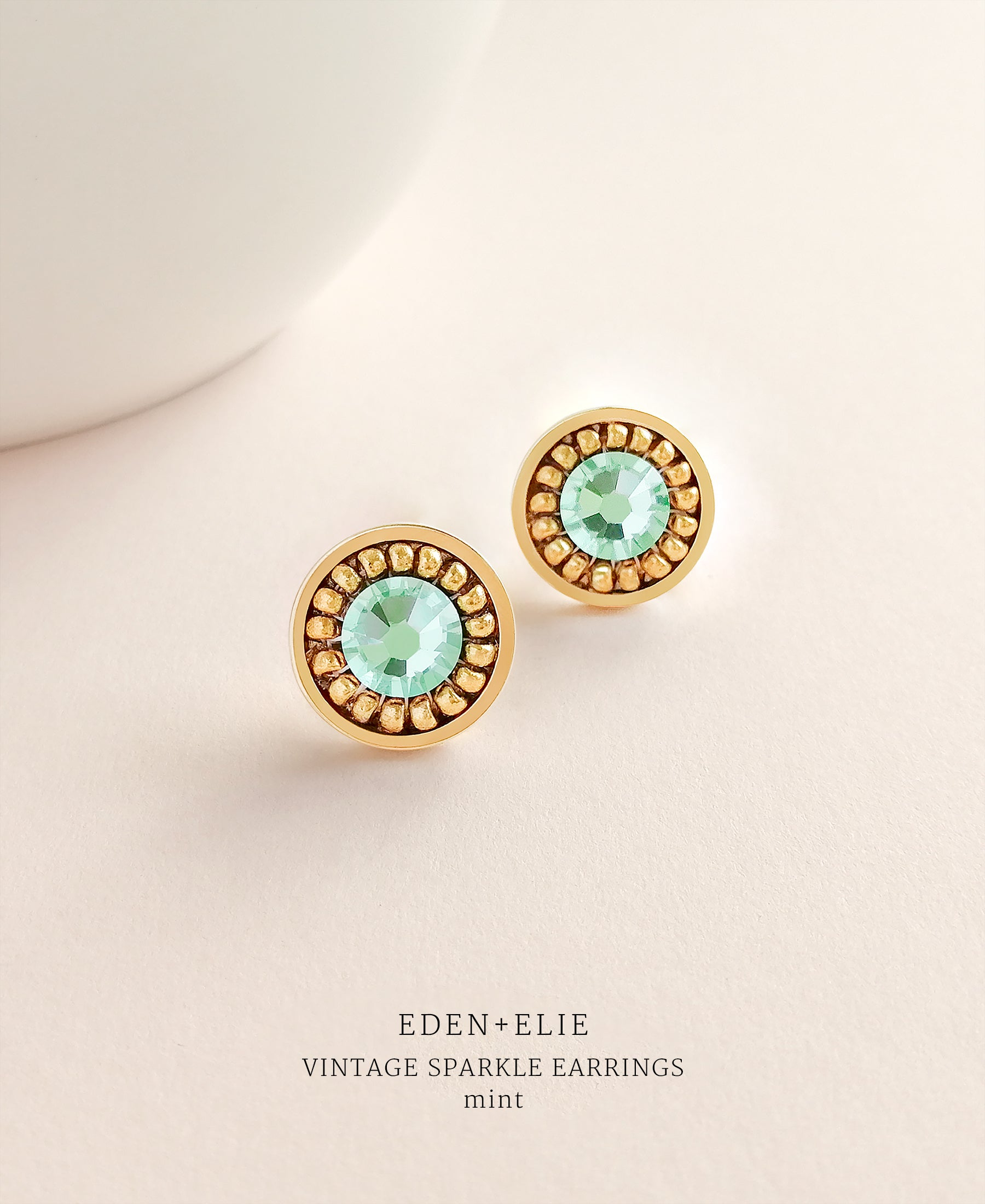 EDEN + ELIE gold plated jewelry Vintage Sparkle stud earrings - mint green
