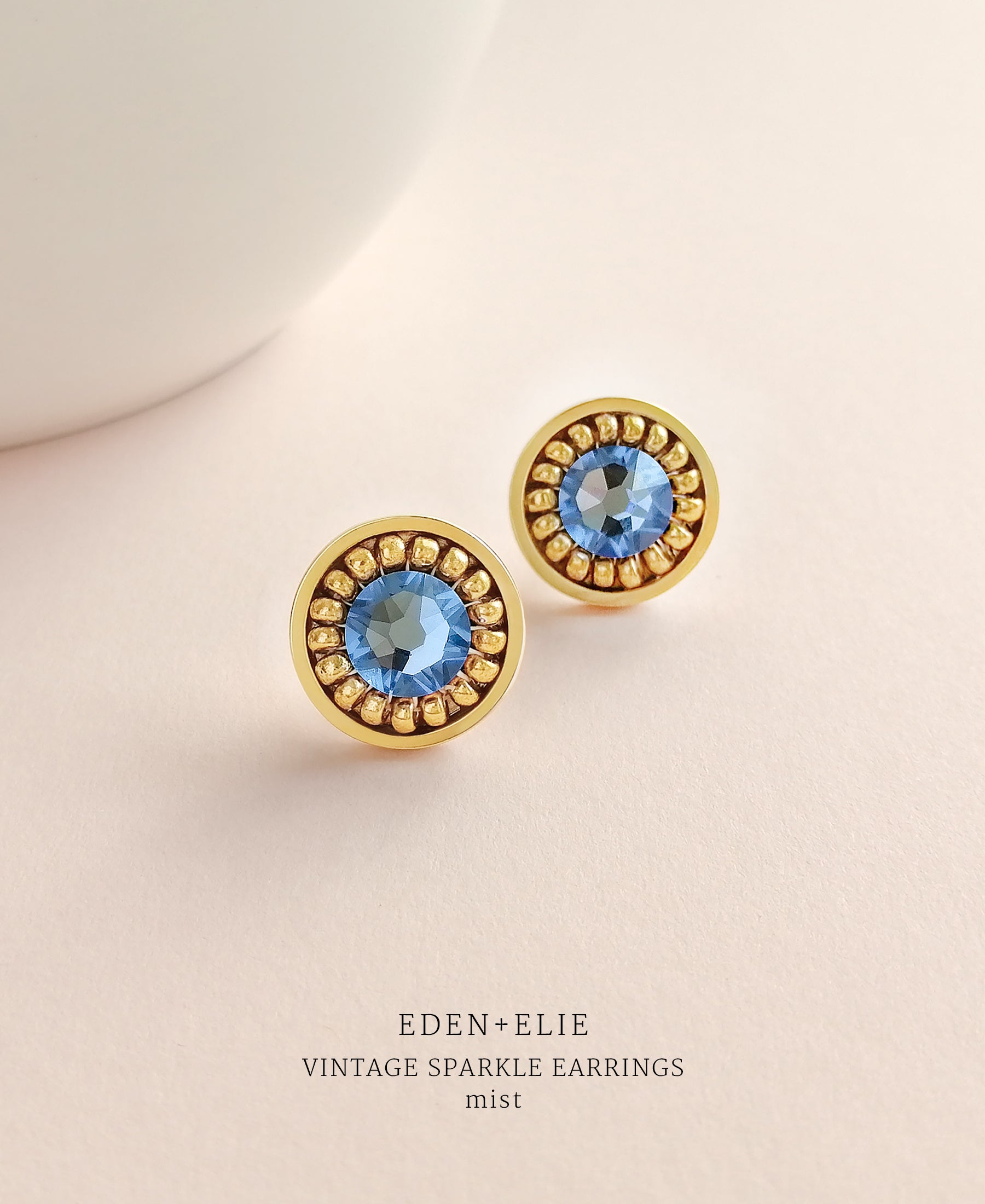 EDEN + ELIE gold plated jewelry Vintage Sparkle stud earrings - mist blue
