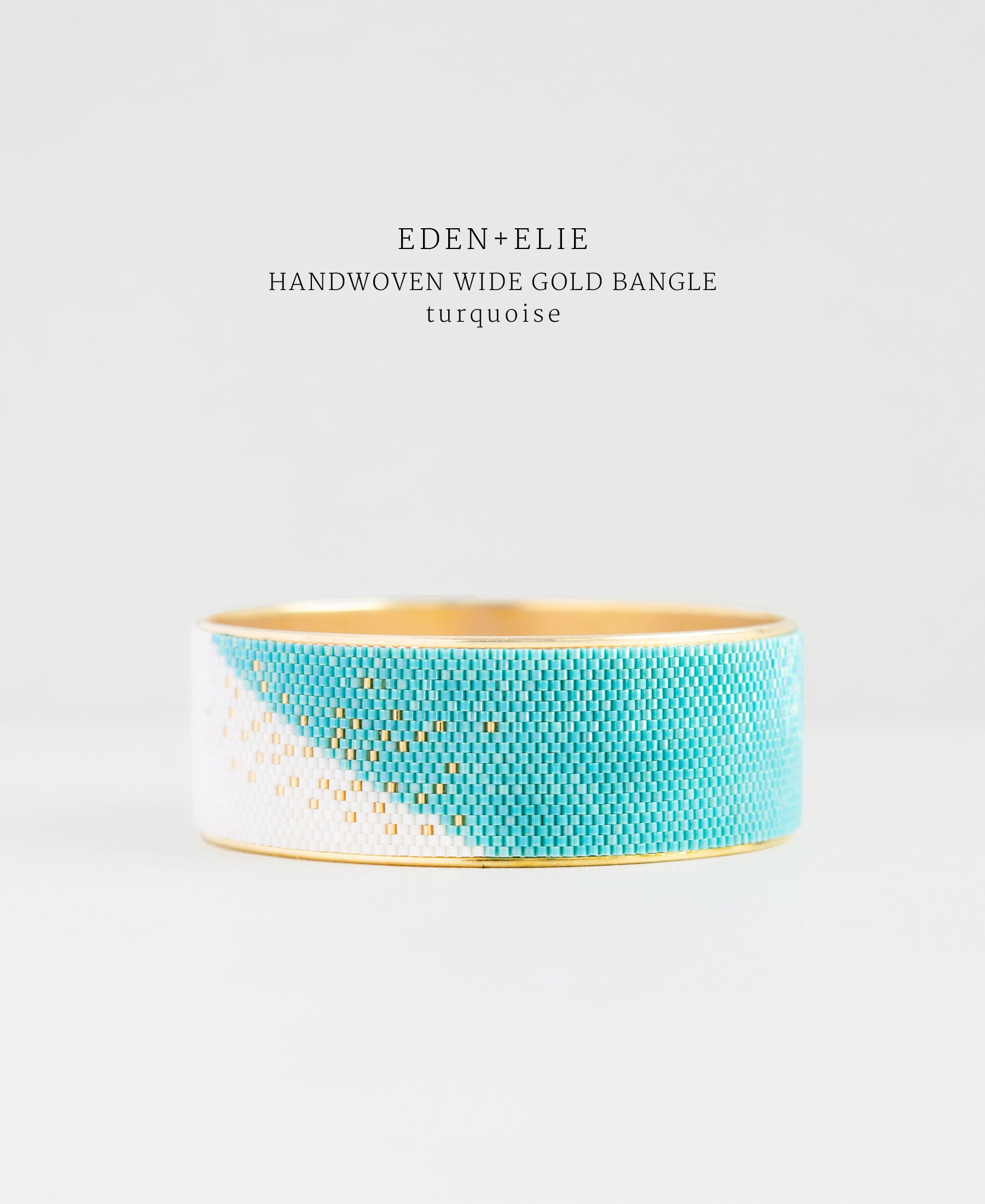 EDEN + ELIE Everyday wide gold bangle - turquoise