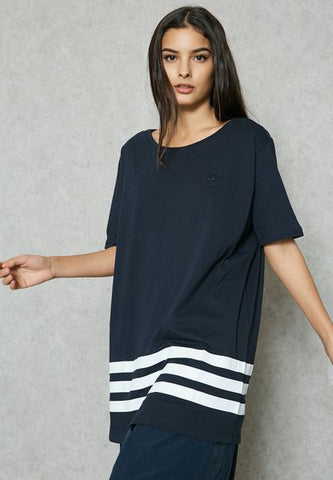 Adidas Originals navy Striped Oversize T-Shirt BK6040
