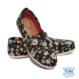 Toms Women's Classic Floral Print Shoes, Black Cream Blossom 10004400
