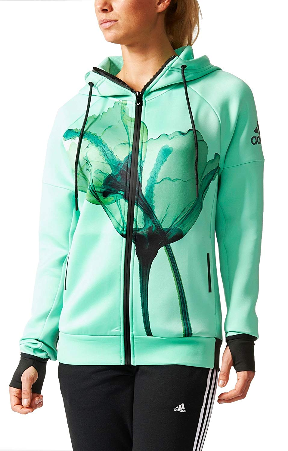 adidas Women's Hooded Weats Daybreaker Olympic Green AJ6327