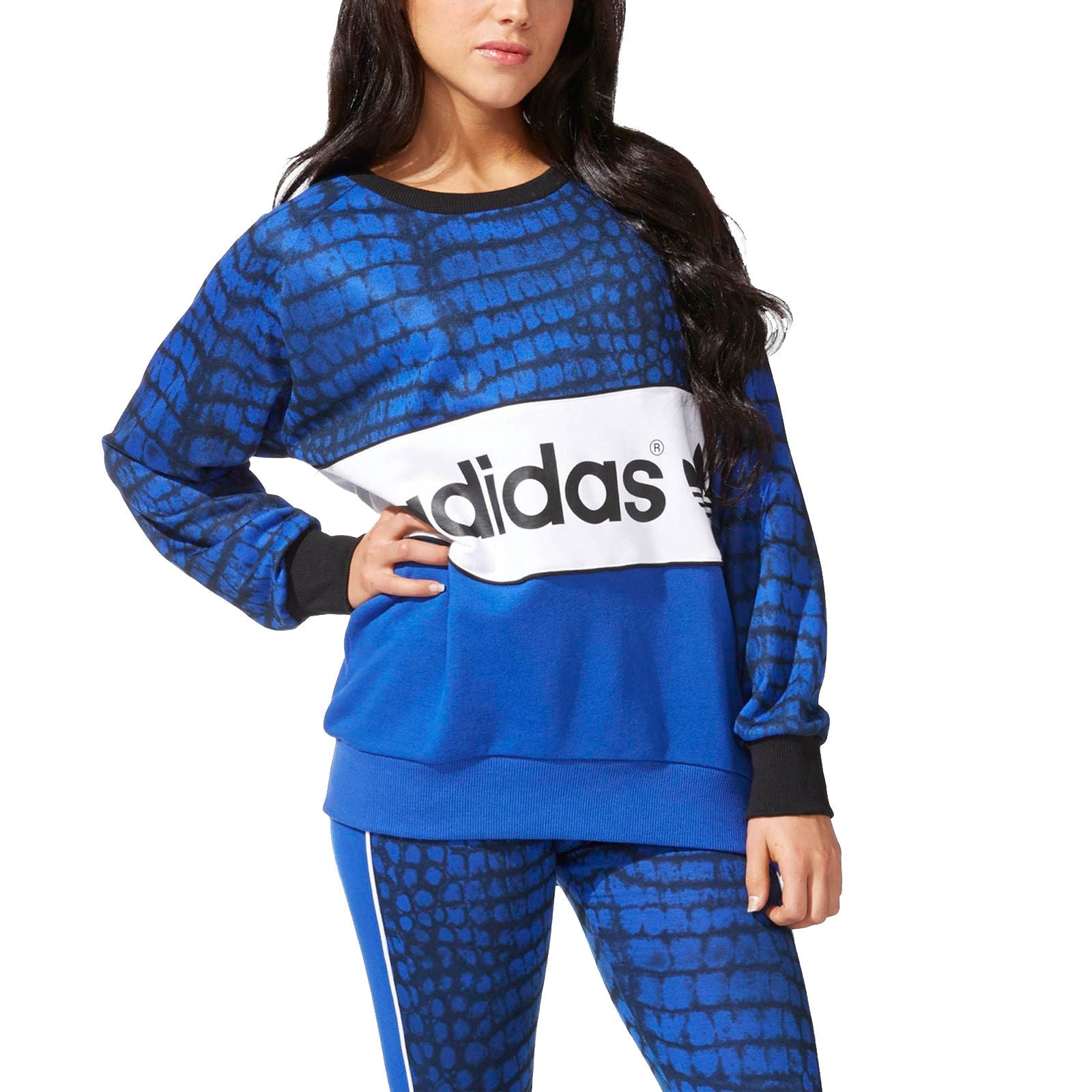 adidas Originals Womens New York City Logo Sweatshirt Jumper Sweater Top Blue S19899