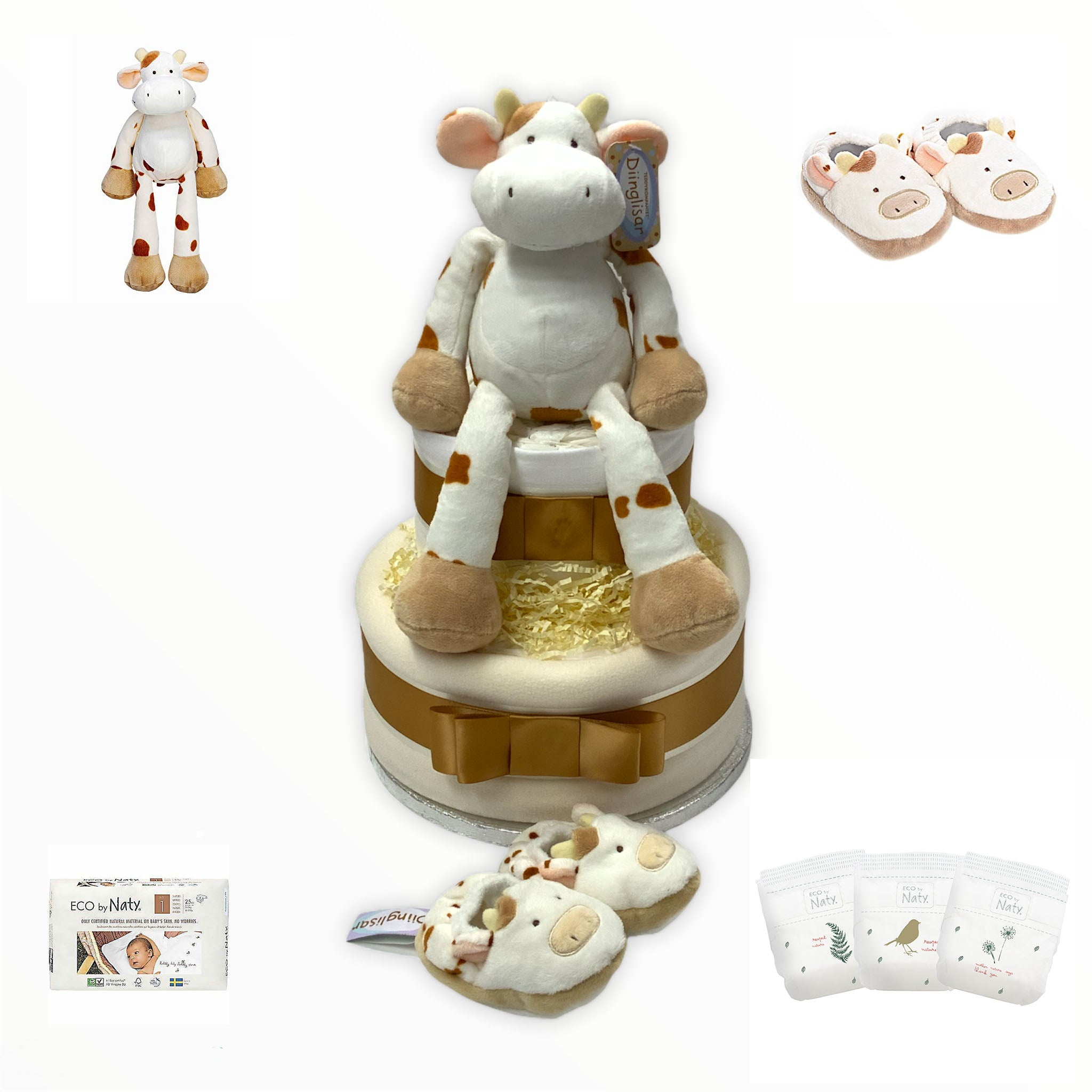 Diinglisar Wild 2 Tier Luxury Cow Nappy Cake