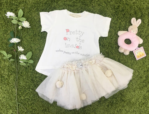 Cream Tulle Pom Pom Two Two 6-24 months