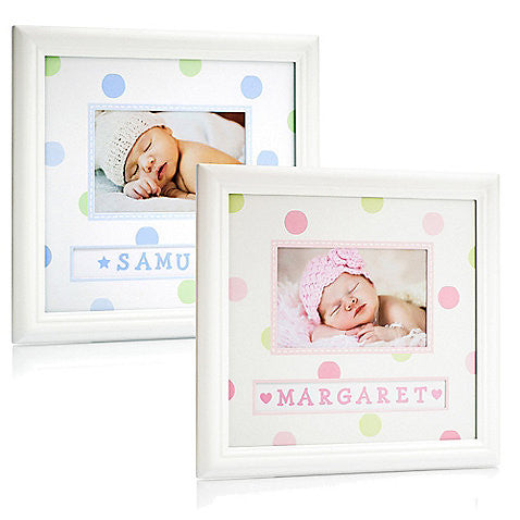 Personalised Baby Name Frame (White)