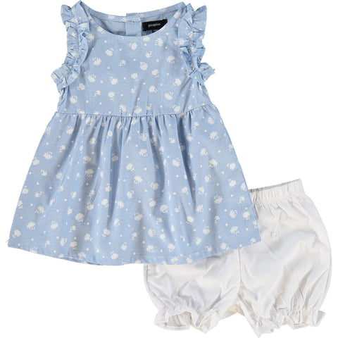 Blue and White Floral Dress and Bloomers