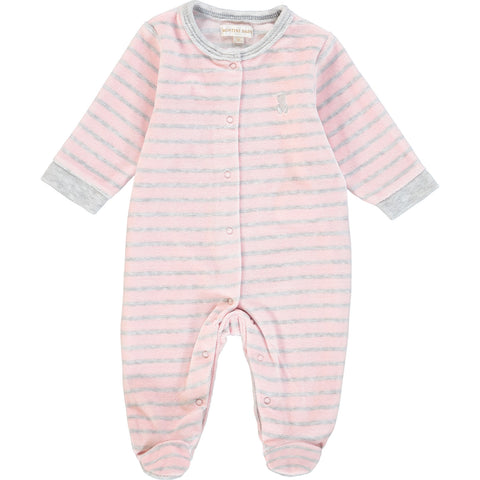 Pink velour Striped Playsuit