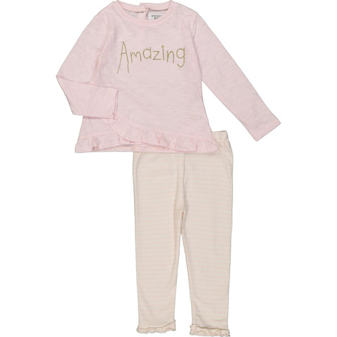 Amazing Pink & Cream Frilled Top and Leggings Set