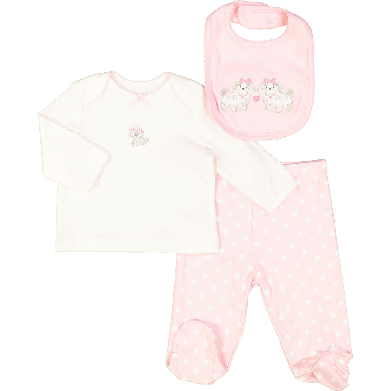 Roxy 3-Piece Cute Puppy Bib Set
