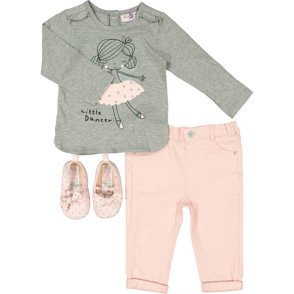 Grey and Pink Little Dancer Three Piece Outfit