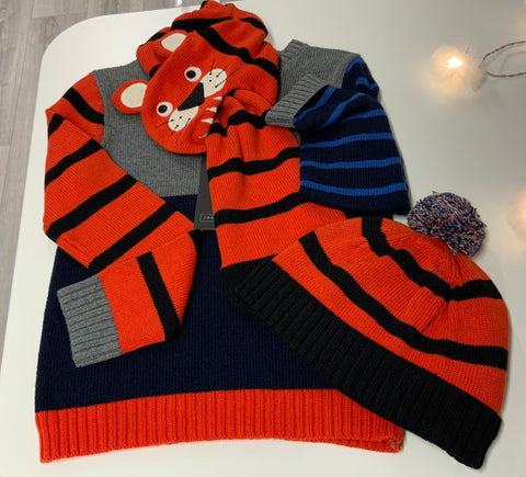 3 Piece Tiger Hat, Scarf and Jumper Set