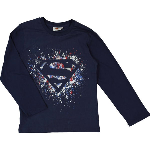 Super Hero Long Sleeved Navy Crew Neck T Shirt