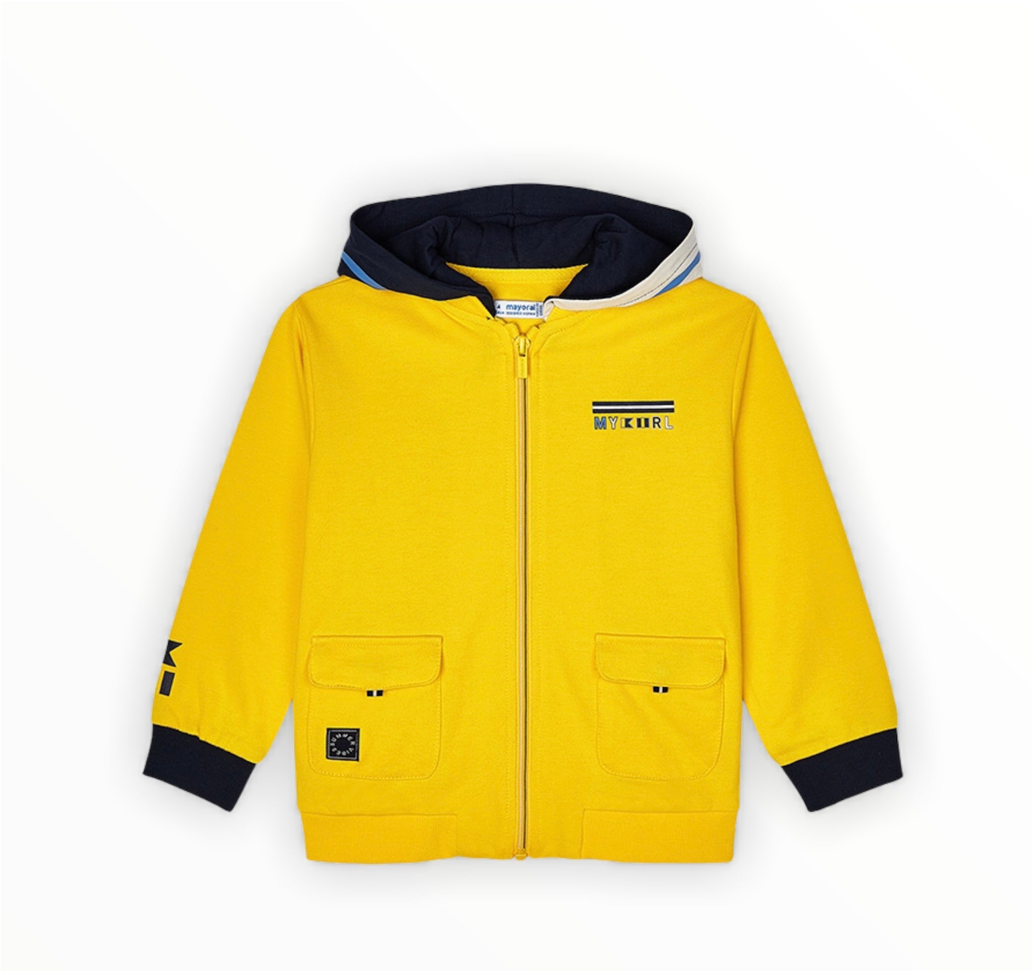 Sun Coloured Boys Zipped Hooded Jacket