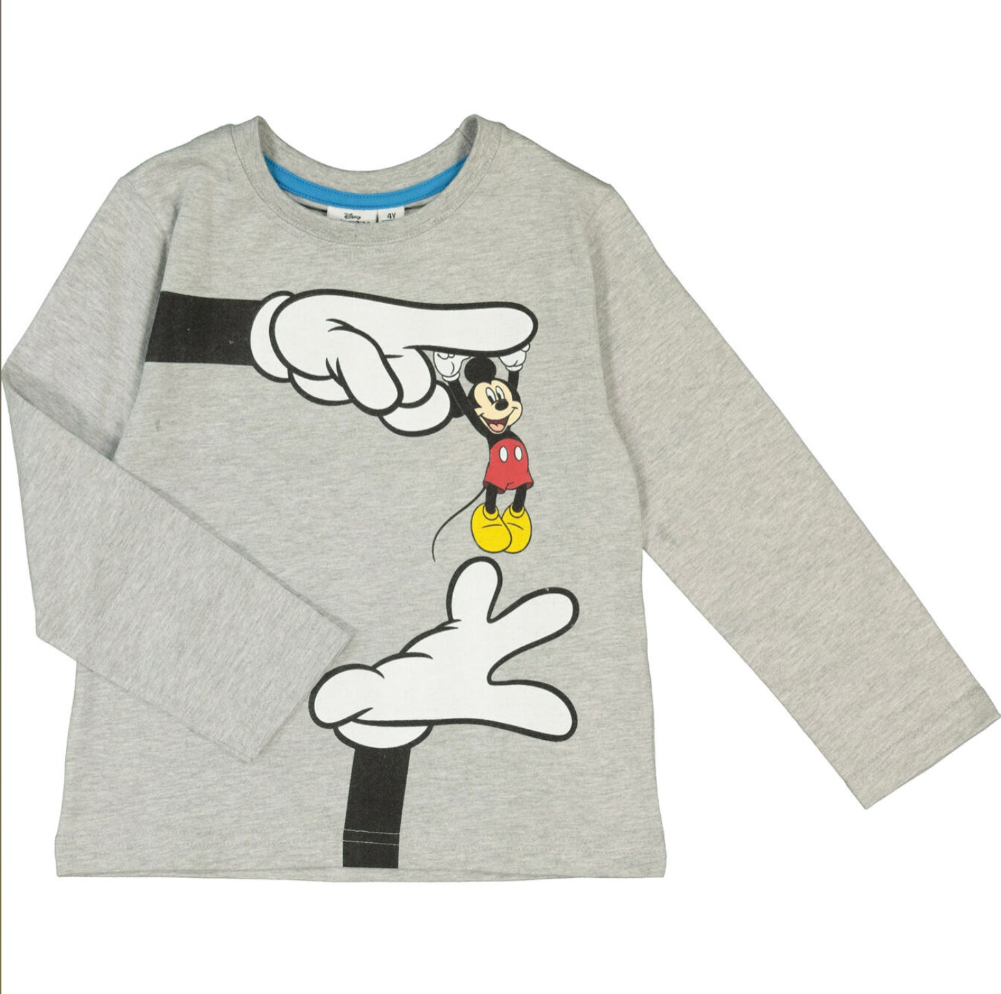 Mickey Mouse Grey Long Sleeved Crew Neck T Shirt