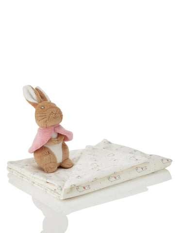 Flopsy, Mopsy, and Cotton-tail Toy and Blanket Set
