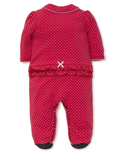 Holiday Bear Footie Girls Polka Dot