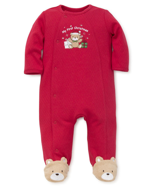 My First Christmas Holiday Boys Bear Footie