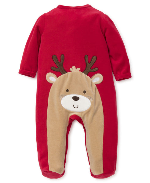 Reindeer Velour Footie