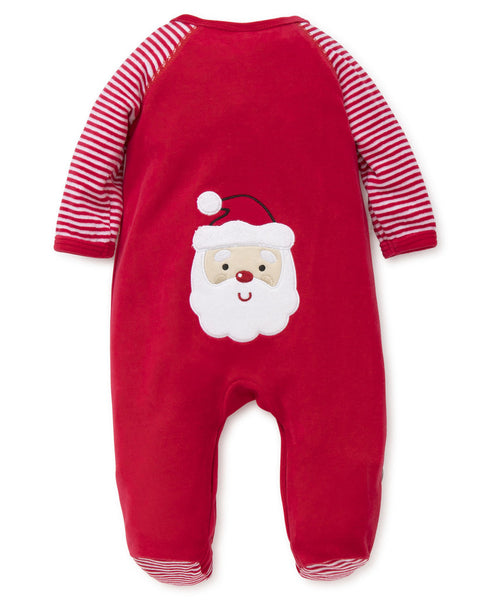 Little Me My First Christmas Santa Velour Footie
