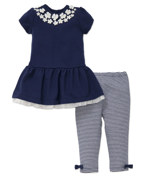 Little Me Navy Dress & Legging Set 18 Months