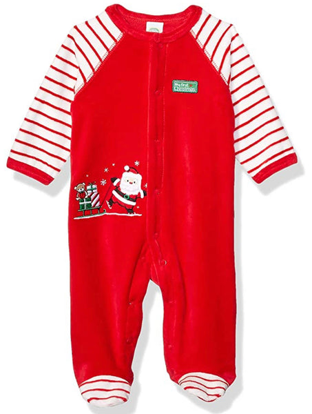 Little Me My First Christmas Santa Velour Footie Broad Stripes