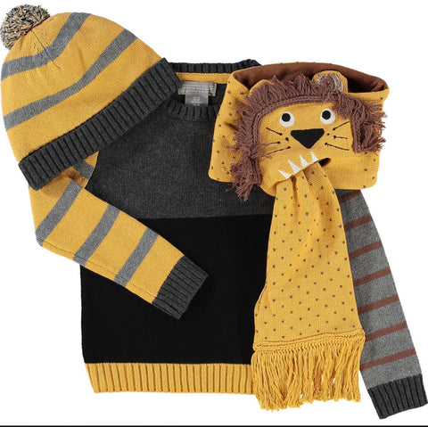 3 Piece Lion Hat, Scarf and Jumper Set