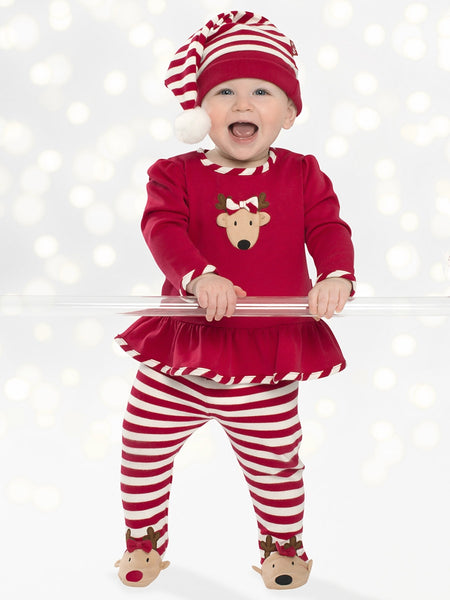 Le Top Baby Reindeer Cheer Swing Top & Footed Stripe Pants