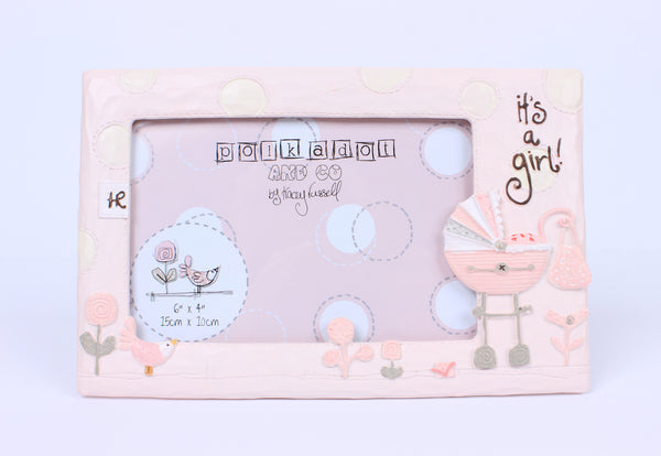 It's a Girl  Polka dot Photo Frame  7x5 inch