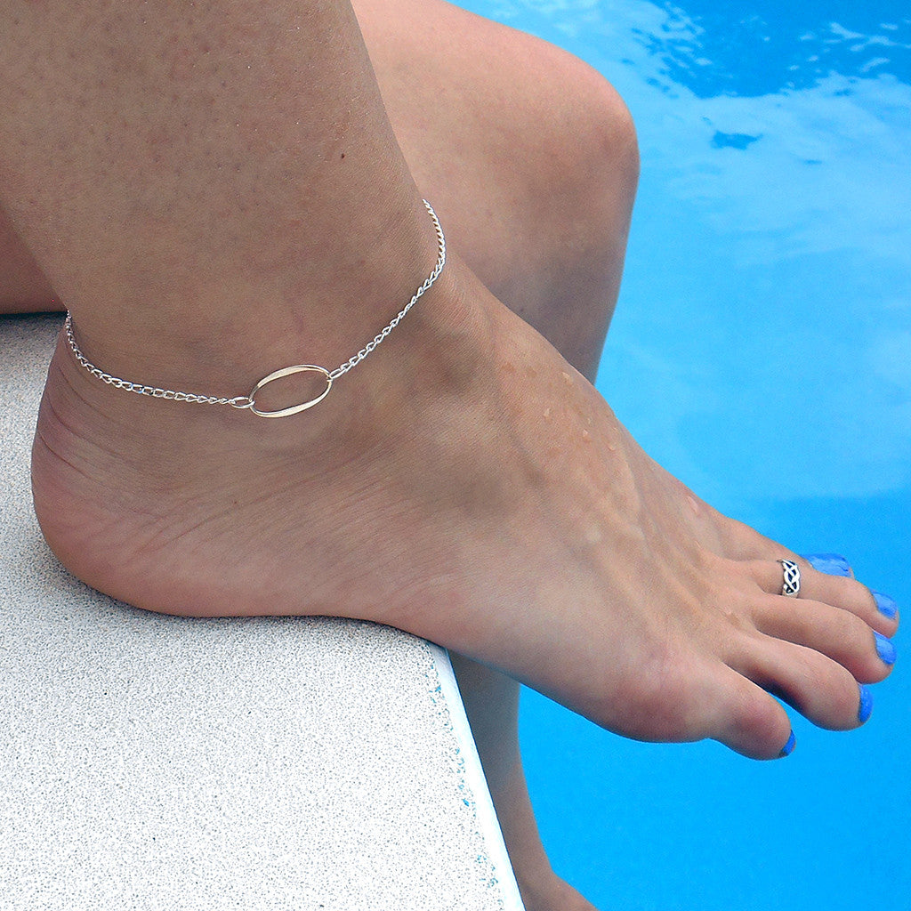 The Diane - Oval Sterling Silver Anklet - By E Artisan Jewelry