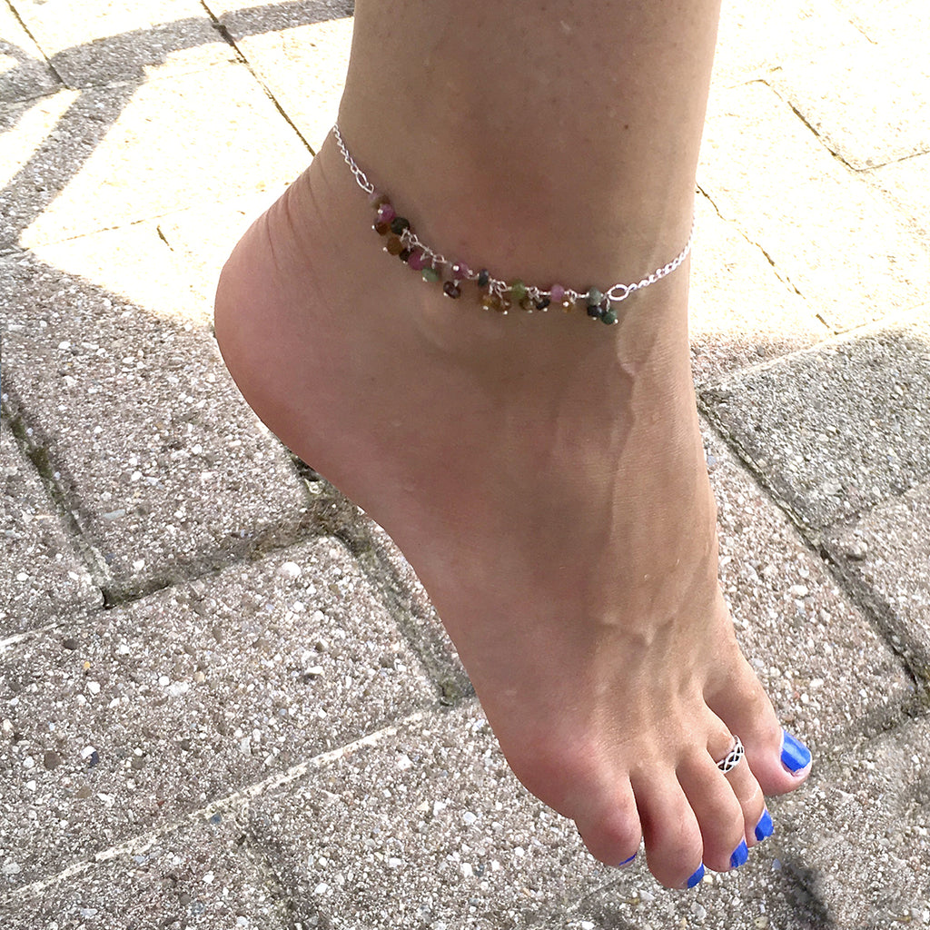 Half Strand Tourmaline and Sterling Silver Anklet