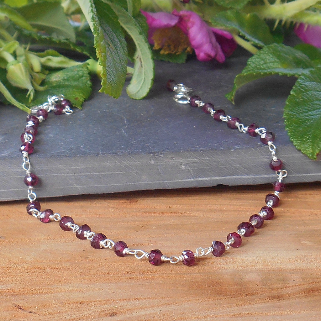 Garnet and Sterling Silver Anklet