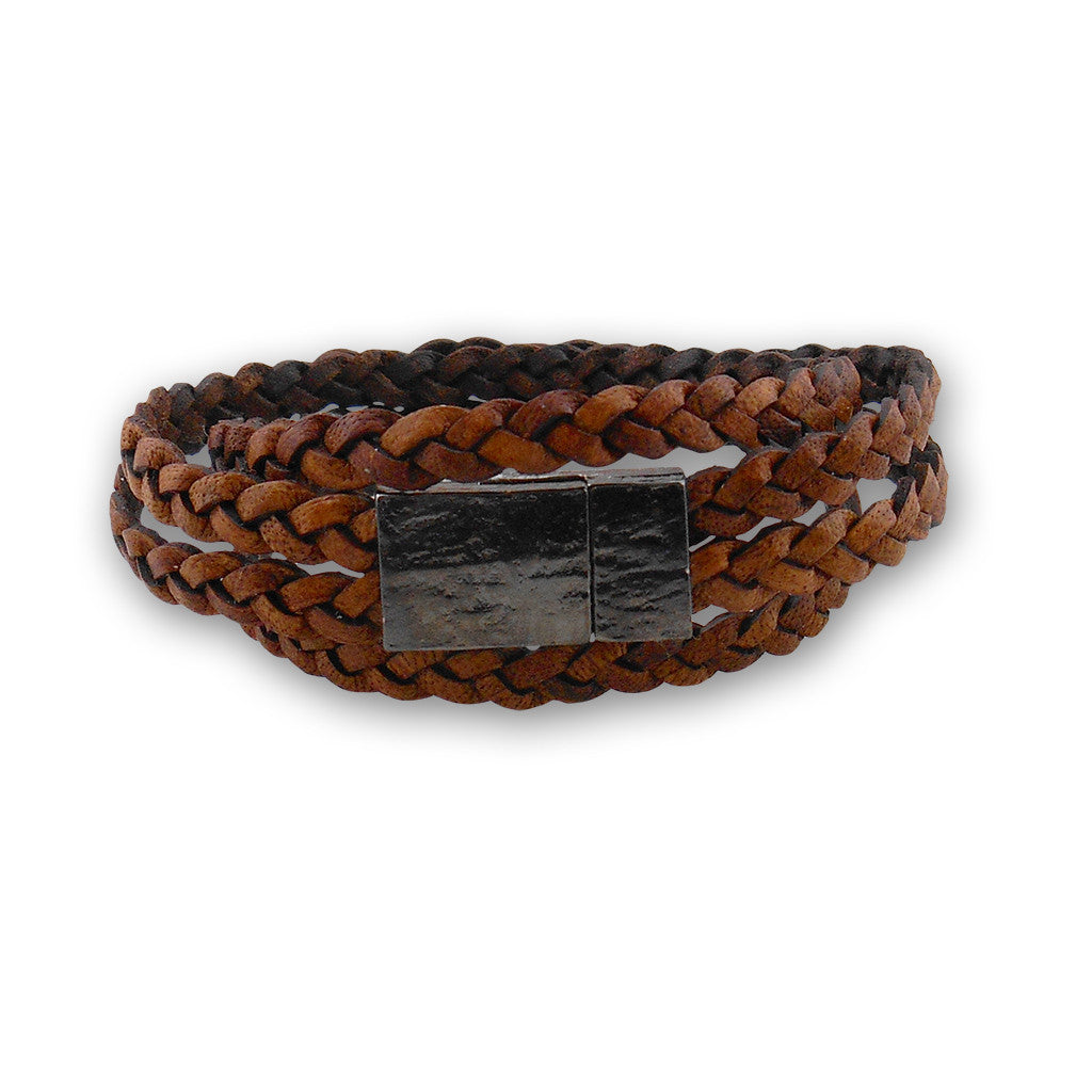 Braided Leather bracelet with magnetic clasp - By E Artisan Jewelry