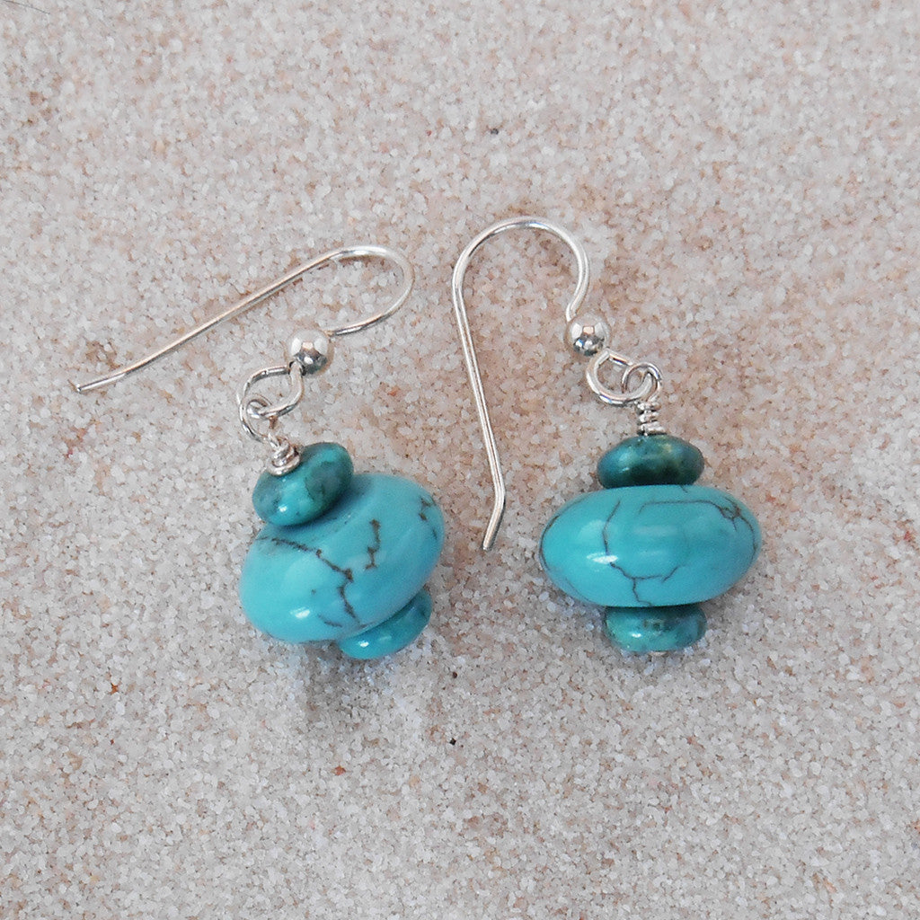 Sterling Silver and Turquoise Earrings - By E Artisan Jewelry
