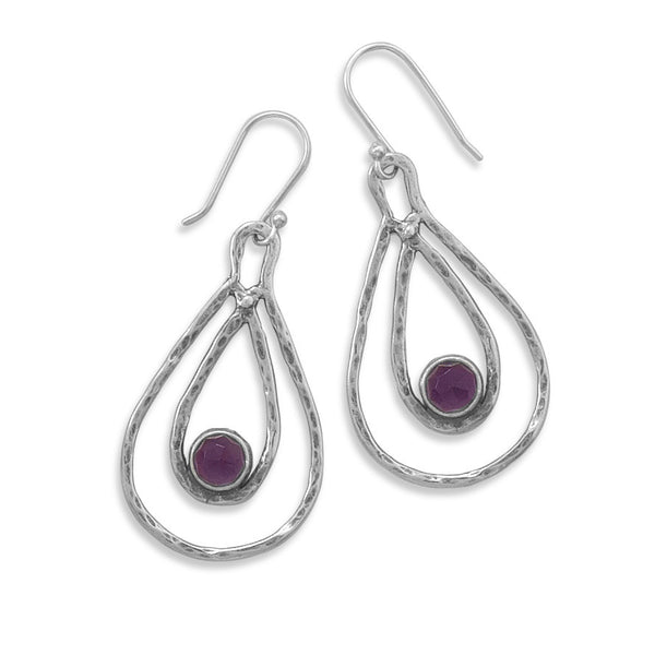 Nesting Amethyst and Sterling Silver Earrings - By E Artisan Jewelry