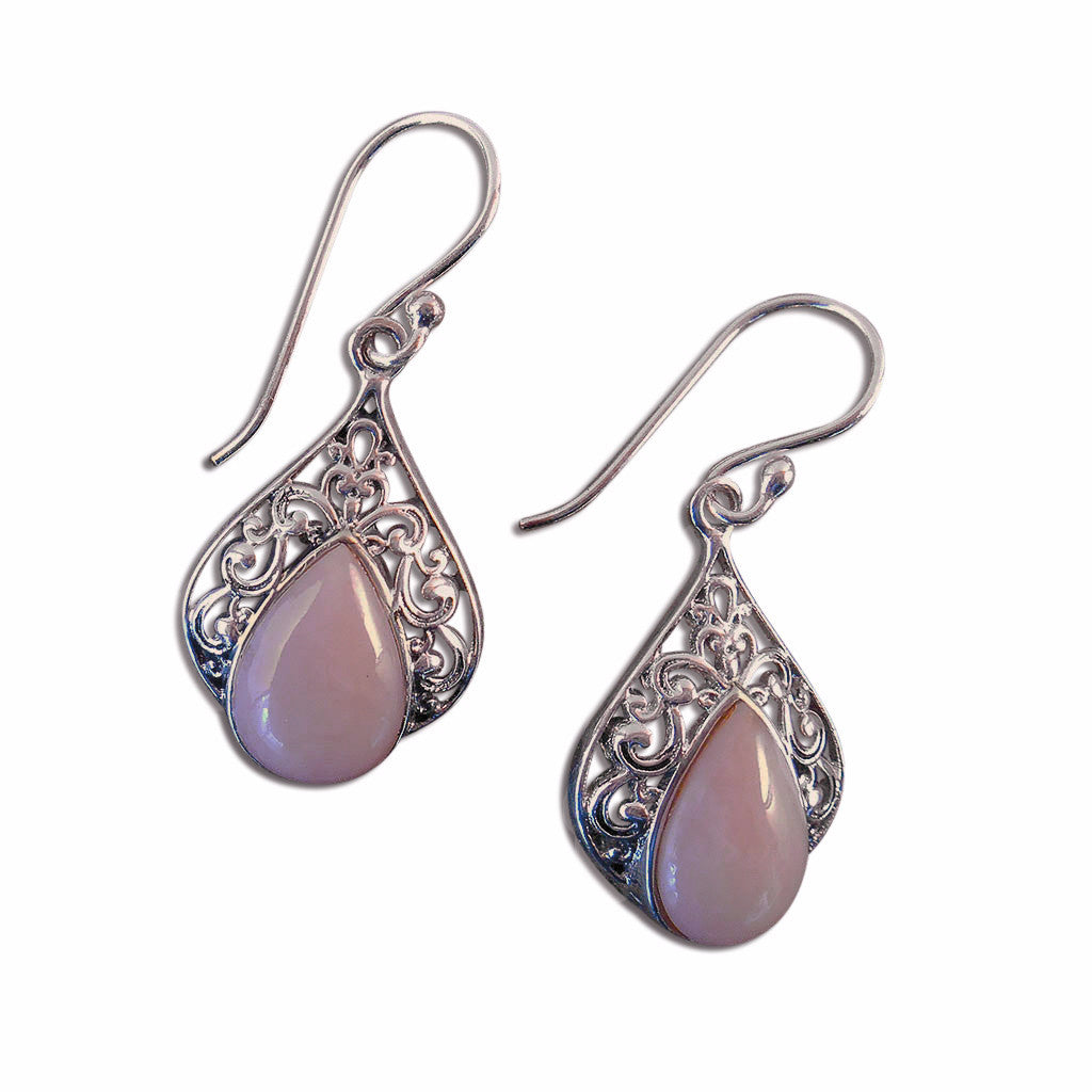 Pink Opals and Sterling Silver Earrings - By E Artisan Jewelry